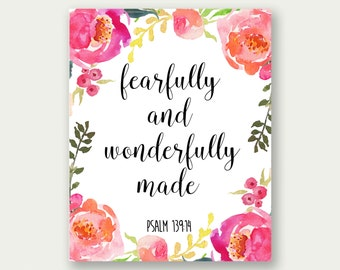 Fearfully And Wonderfully Made, Psalm 139:14, Girl Nursery Printable, Girl's Room Wall Art, Baby Girl Prints, Girls Wall Art, Baby Girl Art