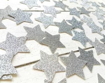 Silver Star Birthday Party Confetti. Christmas Confetti. 50 units. Silver confetti. Christmas decorations. Table decor. Any Glitter Colour.
