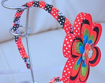 Headband in faya points in fun colors of tape.