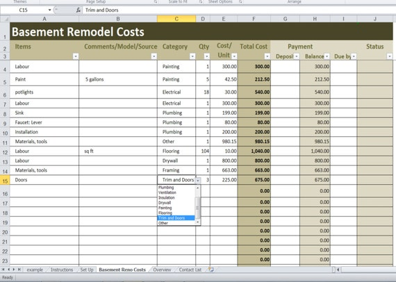 Basement Remodel Costs Calculator Excel Template