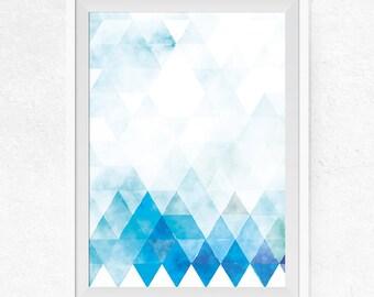 Blue Scandinavian Printable Wall Art, Modern Abstract Art, Scandinavian Art Print, Blue Decor, Geometric Printable Art - #0001