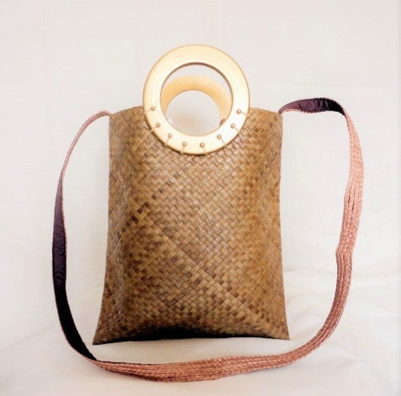 Kultura Abaca Bag Design: Abaca Bariw Natural Brown Gold Ethnic Purse Handbag Tote