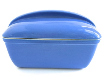 Periwinkle Hall Pottery - Hall Loaf Pan - Hall Westinghouse Refrigerator Dish - Blue Loaf Pan - Art Deco Pottery - Blue Kitchen Decor