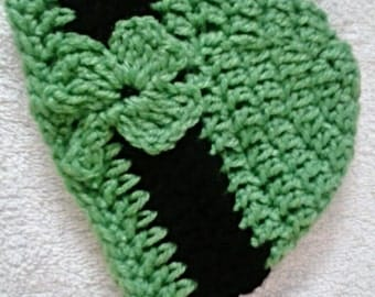 Saint Patrick's Day Newborn Hat Crochet Shamrock Green