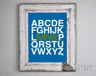 Minnesota Alphabet Print - Blue & Green