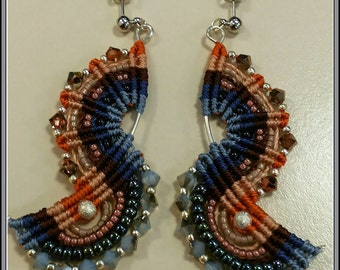 "Earrings ""S"" macrame"
