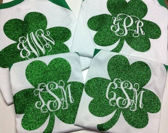 Clover St. Patrick's Day Baseball Tee w/Green Sleeve and glitter monogram