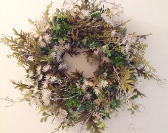 Faux wreath, Door decor, mixed greenery, Glitter wreath, Queen Anne's Lace, woodland wreath, door wreath,