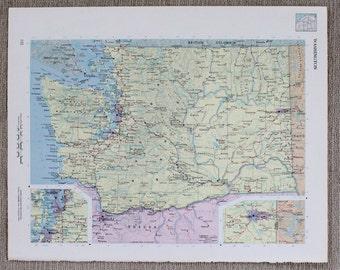 Washington State Map Original Print