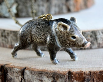 Hand Painted Porcelain Peccary Necklace, Antique Bronze Chain, Vintage Style Wild Pig, Ceramic Animal Pendant & Chain (CA028)