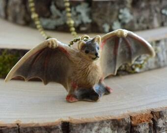 Hand Painted Brown Bat Necklace, Antique Bronze Chain, Vintage Style Fairy Vampire Ceramic Animal Pendant & Chain (CA257)