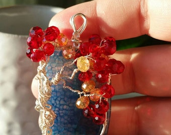 Autumn tree of life on ocean blue agate
