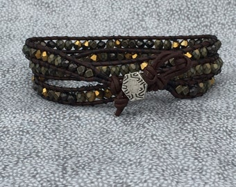 Leather Bead Wrap Bracelet