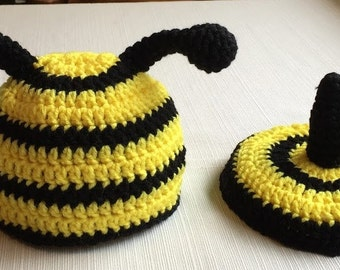 Crochet Bumble Bee Hat and Tushie Cover, Bumble Bee Hat, Crochet Baby Hat, Baby Gift Set, Newborn Photo Prop, FREE SHIPPING
