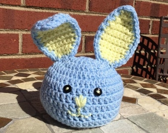 Crochet Baby Bunny Hat, Easter Bunny Hat, Blue with Yellow Ears Bunny Hat, Boys Bunny Hat, Baby Photo Prop, Handmade Bunny, FREE SHIPPING
