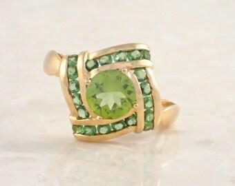 14K Yellow Gold Peridot and Tsavorite Garnet Ring