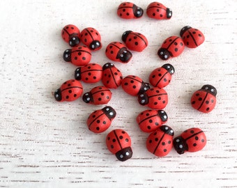 50 Wooden Ladybugs with Adhesive Backing,Self Adhesive Ladybug,Wooden Beads,Embellishments,Perfect for Scrapbooking and Crafts Lot #2