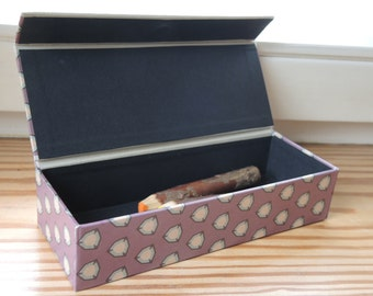 Pen case retro style Dark Violet pen box, handmade box, box for desk, pens, glasses,