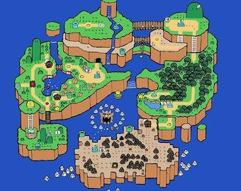 Super Mario World SNES Map Poster