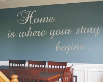 Wall Decor vinyl sticker / wall decal / vinyl decal inspirational quote - Home is where your story begins