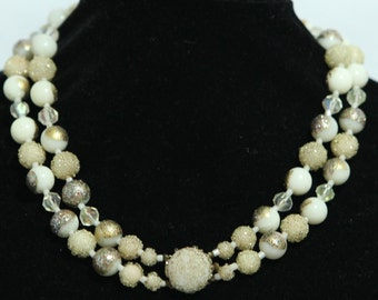 JAPAN Textured Ivory White Lucite Bead Necklace