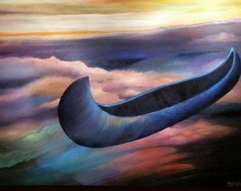 Original oil painting. Blue Canoe by Bear Schutz. 30x 40 Large, Dreamlike, Transcendental Water Sky Canoe Scape with Vibrant Colours. D