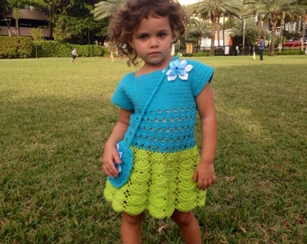 Handmade Crochet blue-green girl dress with bag included 100%cotton for 3years old
