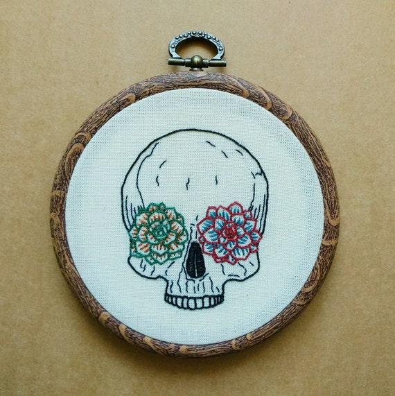 Pdf pattern succulent skull hand embroidery