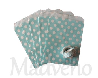 Lot of 10 bags blue paper with polka dots