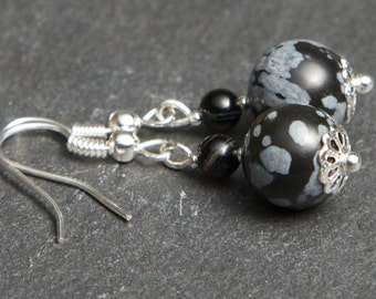 Snowflake Obsidian Earrings - Silver Plated. Gemstone Earrings. Dangle Earrings. Black Earrings.