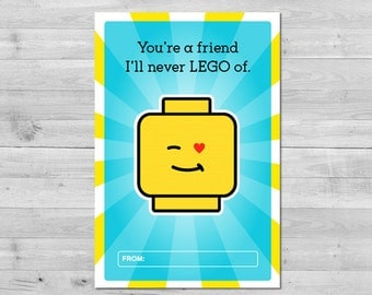 Lego Valentine's Day Card | Digital File | Lego Valentine | Valentine's Gift Tags | Classroom Valentine's Cards | Printable PDF