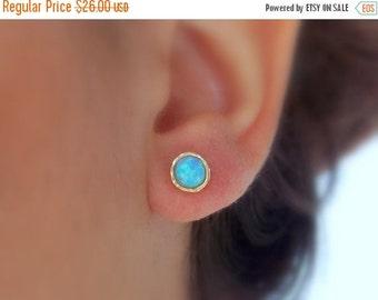 ON SALE Opal stud earrings - gold opal earrings - opal earrings - classic earrings - stud earrings - Gold filled earrings - October birthsto
