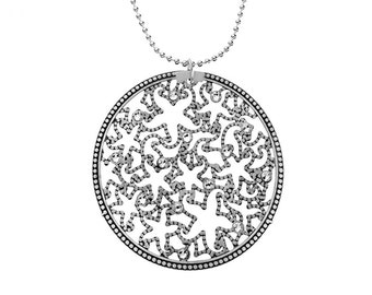 Alhambra Necklace with Swarovski Crystal in Oxidized Sterling Silver