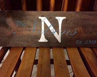Custom hand painted rustic wood last name sign