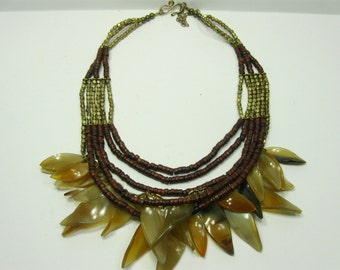 Vintage Multi Strand Beaded Necklace, Brown Layered Necklace, Short Chain Necklace, Boho Jewelry