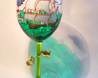 Sailing ship design hand painted on wine glass. Name can be added free! Great gift for dad.