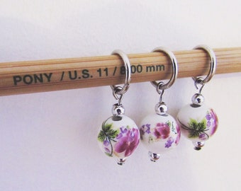 Pink Blossom 8mm (US 11) and 12mm (US 17) Stitch Markers (Sets of 3)