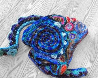 Hooded scarf / mystical sea / merino wool / super soft scarf