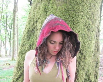 organic hand felted alpaca wool sparkly pixie hood