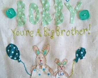 Big Brother Card, New Baby Big Brother Card,  Personalised Name Card, Hand Stitched Card