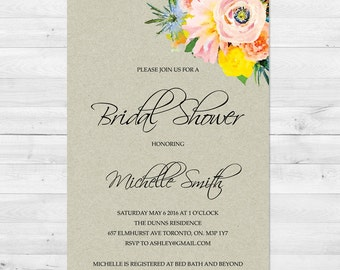 Bridal Shower Invitation, Rustic, Watercolor Floral Bridal Shower Invitation, Printable Invite