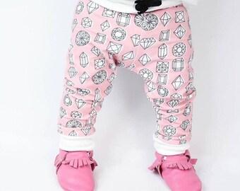 Baby girl pink diamond drawstring leggings, baby girl leggings, toddler leggings, drawstring pants