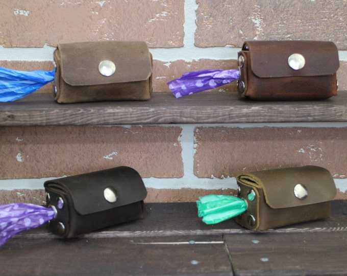Poop bags dispenser, Handmade Leather Dog Bag dispenser, Dog accessories, Poop bag holder, Dog gift, Leather poop bag holder.