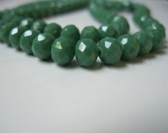 SALE 25% OFF My ENTIRE Shop: 6mm Green Glass Rondelle Beads (50pc)