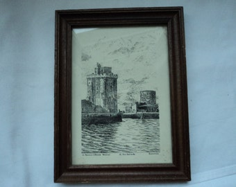REDUCED French vintage original Ducoutioux engraving  of La Rochelle (P00001)