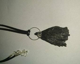 Kyanite pendant on Faux suede necklace