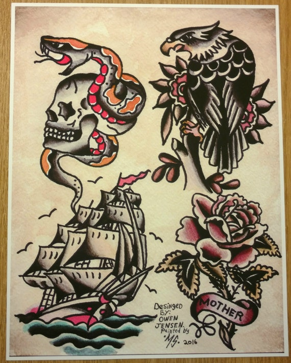 Owen jensen classic tattoo flash print tattoo flash recreated for American classic tattoos