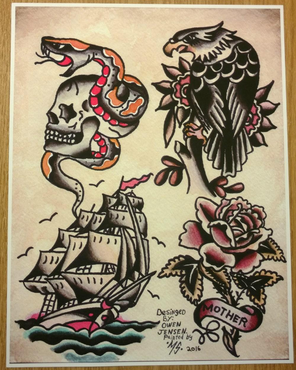 Traditional Flash Skull Tattoos: Owen Jensen Classic Tattoo Flash Print. Tattoo Flash Recreated