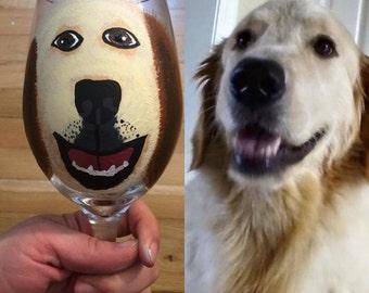 Custom Pet Hand Painted Wine Glass