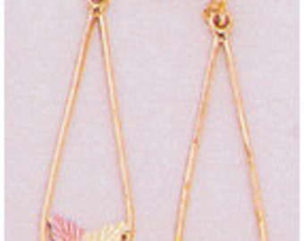 10kt Gold Two-Leaf Long Dangle Earrings 10kt Gold Earrings with 12kt Red And Green Gold Leaves. a24373
